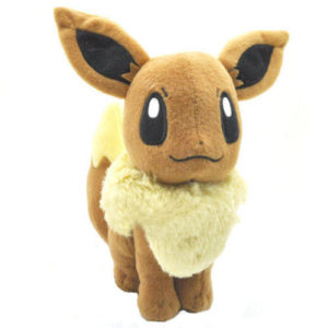 На картинке мягкая игрушка покемон Иви (Eevee) 3 варианта, вид спереди, вариант 17 см.