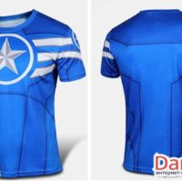 Футболка Капитан Америка (5 вариантов), голубая футболка вид спереди и сзади