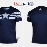 Футболка Капитан Америка (5 вариантов), синяя футболка вид спереди и сзади