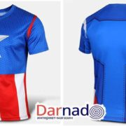 Футболка Капитан Америка (5 вариантов), син-красная футболка вид спереди и сзади