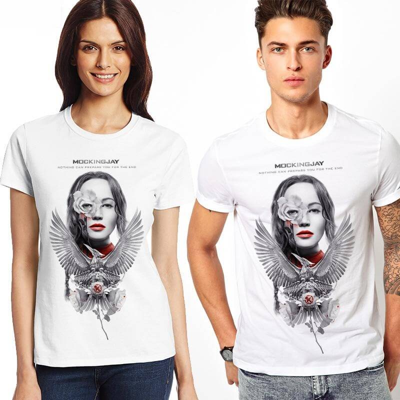 На картинке футболка «Голодные игры», вид спереди.