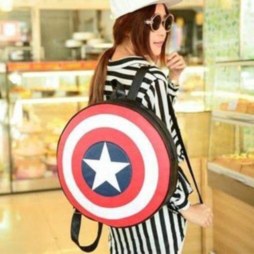 На картинке рюкзак-портфель «Щит капитана Америки» (Капитан Америка), общий вид.