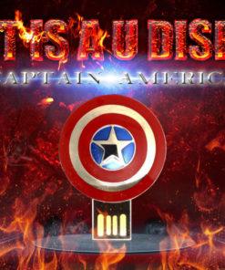 На картинке флешка «Щит Капитана Америки», вид спереди.