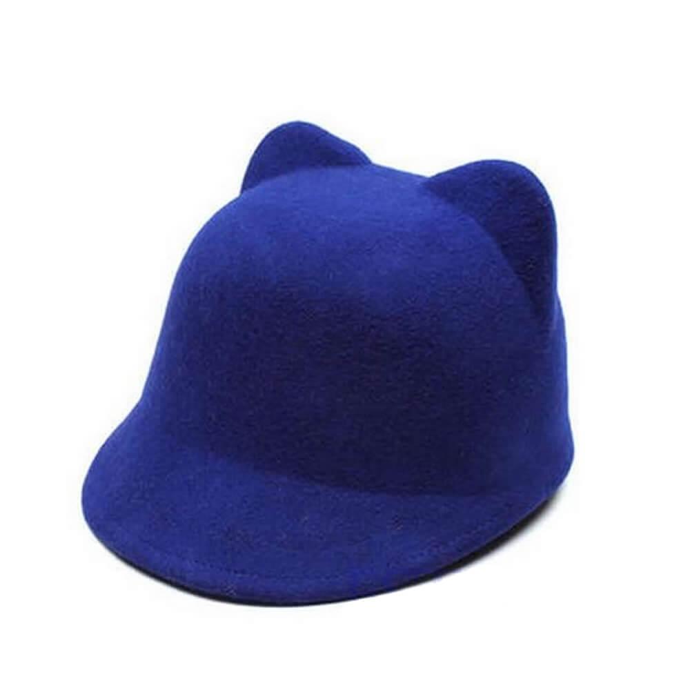 На картинке фетровая кепка с ушками кошки (4 цвета), цвет синий.