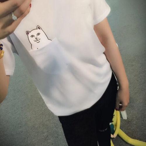 На картинке футболка кот с факом в кармане (2 цвета), вид спереди, цвет белый.
