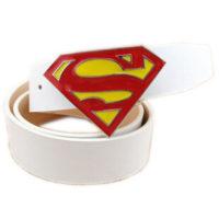 На картинке мужской кожаный ремень «Супермен» (Superman) 4 варианта, вариант Белый с красным.