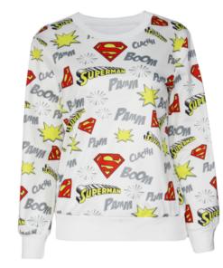 На картинке кофта «Супермен» женская (Superman) 2 варианта, вид спереди, цвет белый.