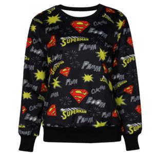 На картинке кофта «Супермен» женская (Superman) 2 варианта, вид спереди, цвет черный.