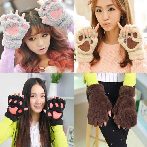 На картинке варежки-перчатки кошачьи лапки, 4 варианта.
