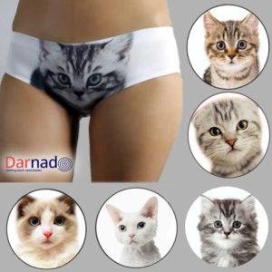 На картинке провокационные женские трусы с кошкой (котом) впереди (3d) 6 вариантов.
