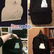 Рюкзак с котом, показывающим фак (4 цвета) фото