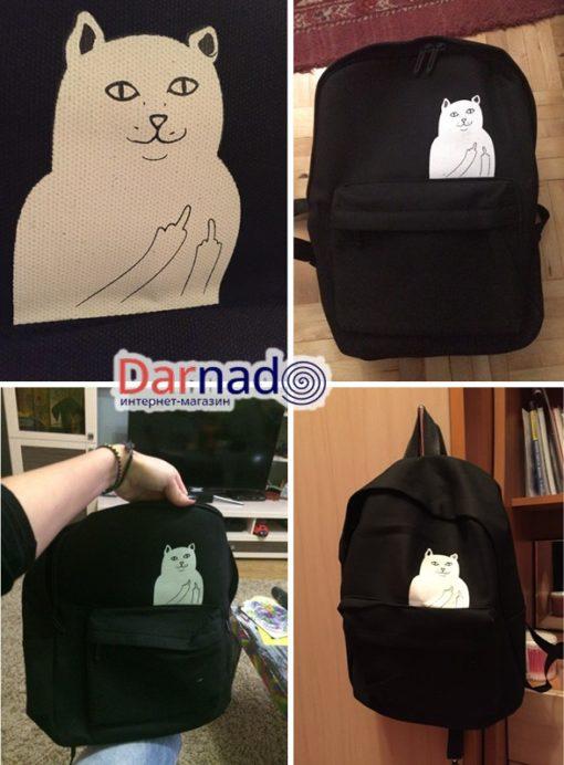 На картинке рюкзак с котом, показывающим фак (4 цвета), цвет черный.