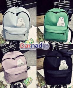 На картинке рюкзак с котом, который показывает факью (4 цвета).