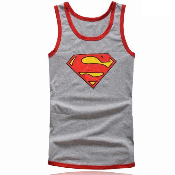 На картинке майка «Супермен» (Superman) 4 варианта, вид спереди, цвет серый.