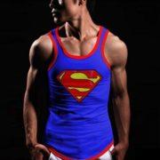 На картинке майка «Супермен» (Superman) 4 варианта, вид спереди, цвет синий.