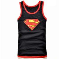 На картинке майка «Супермен» (Superman) 4 варианта, вид спереди, цвет черный.