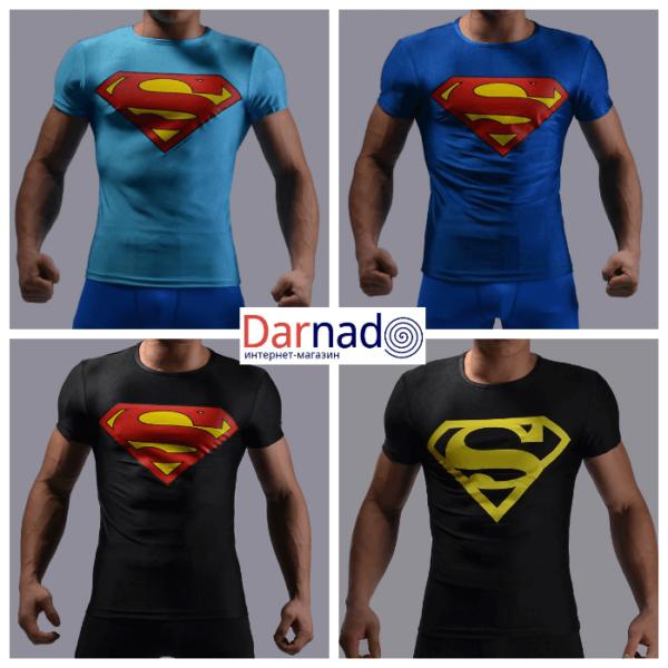 На картинке футболка с эмблемой Супермена (Superman) 4 варианта.