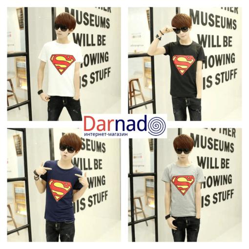 На картинке футболка с логотипом Супермена (Superman) 4 варианта.