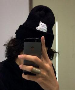 На картинке шапка с котом, показывающим фак (3 цвета), общий вид, цвет черный.