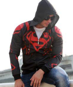 На картинке кофта «Супермен» мужская (Superman), вид спереди.