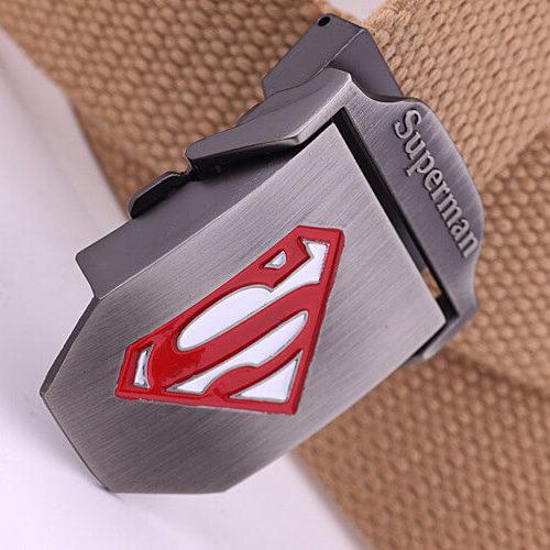На картинке тканевый ремень «Супермен» (Superman), цвет бежевый.