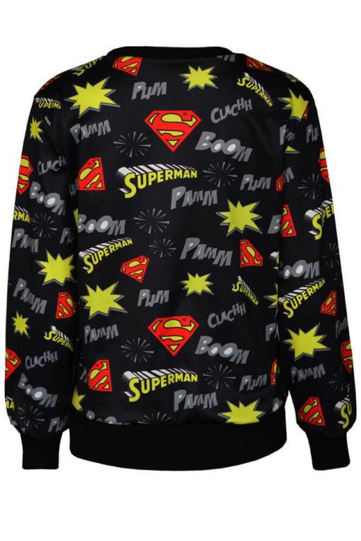 На картинке кофта «Супермен» женская (Superman) 2 варианта, вид сзади, цвет черный.