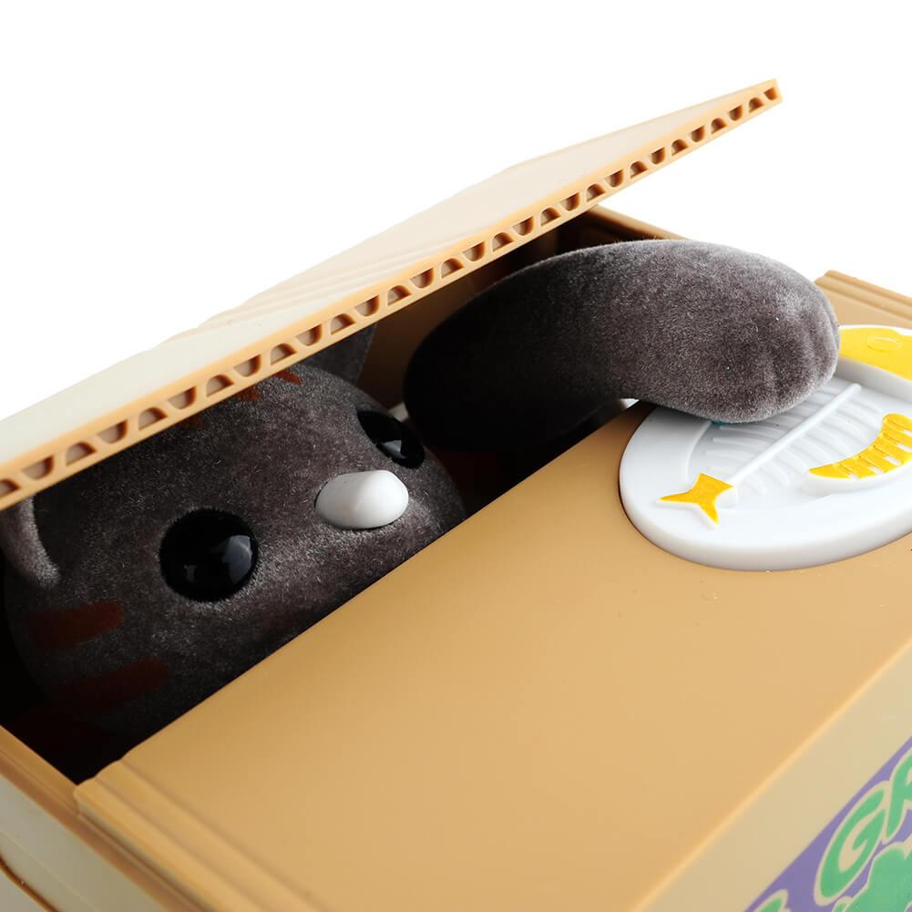 На картинке интерактивная японская копилка кот воришка (3 варианта), кот серый.