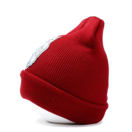 На картинке шапка с котом, показывающим фак (3 цвета), вид сбоку, цвет красный.