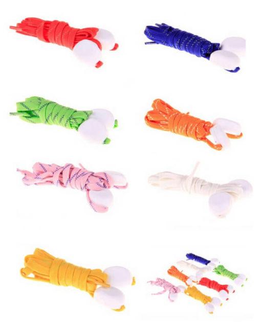 На картинке шнурки, которые светятся в темноте (6 цветов).