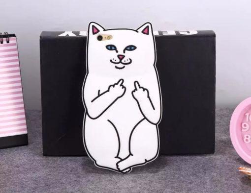 На картинке чехол кот показывает фак на айфон 4S-5-5S-6-6+, вид сзади.