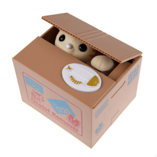 На картинке интерактивная японская копилка кот воришка (3 варианта), кот бежевый.