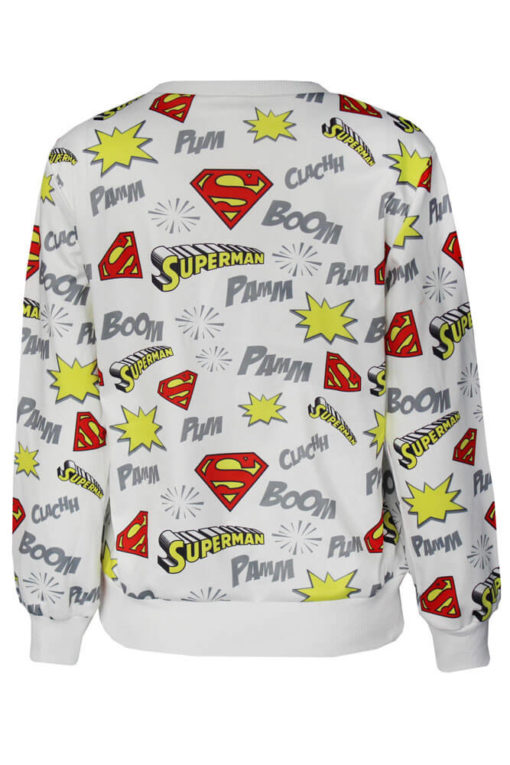 На картинке кофта «Супермен» женская (Superman) 2 варианта, вид сзади, цвет белый.