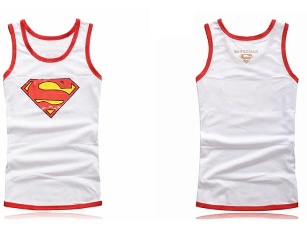 На картинке майка «Супермен» (Superman) 4 варианта, вид спереди и сзади, цвет белый.