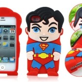 На картинке чехол «Супермен» на айфон 4-4S-5-5S (Superman), вид спереди и сзади.