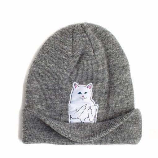 На картинке шапка с котом, показывающим фак (3 цвета), вид спереди, цвет серый.