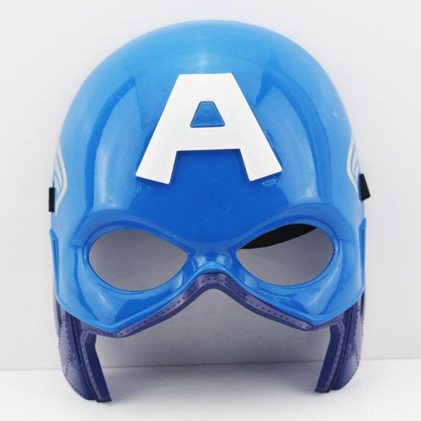 На картинке маски «Мстители» (Марвел \ Marvel) 5 вариантов, вид спереди, вариант Капитан Америка.