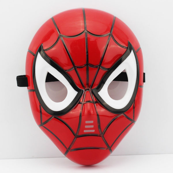 На картинке маски «Мстители» (Марвел \ Marvel) 5 вариантов, вид спереди, вариант Человек-паук.