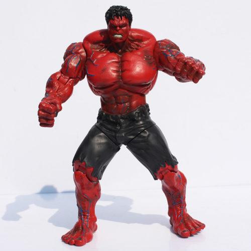 На картинке игрушка красный Халк (Hulk \ Avengers \ Marvel), вид спереди.
