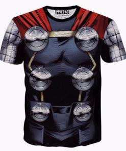 На картинке футболка в виде костюма бога Тора (Мстители), вид спереди.