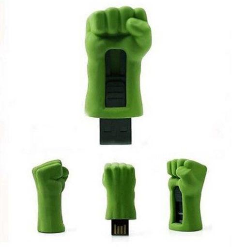 На картинке флешка рука Халка (Hulk \ Avengers \ Marvel), вид с разных сторон.