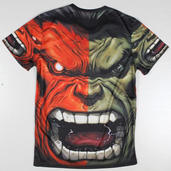 На картинке футболка Халк Марвел (Hulk \ Avengers \ Marvel), вид сзади.