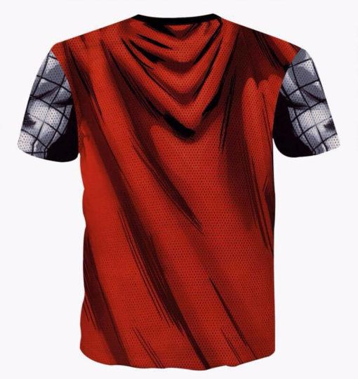 На картинке футболка в виде костюма бога Тора (Мстители), вид сзади.