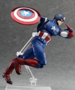 На картинке подвижная фигурка Капитана Америки \ Первого Мстителя (Мстители), вид сбоку.