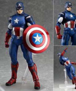 На картинке подвижная фигурка Капитана Америки \ Первого Мстителя (Мстители), вид с разных сторон.