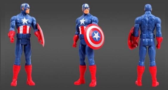На картинке фигурка Капитан Америка Мстители (Марвел \ Marvel), вид с разных сторон.