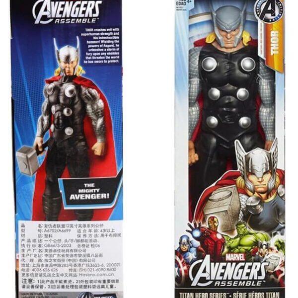На картинке фигурка киногероя Тора из Мстителей, вид в упаковке.