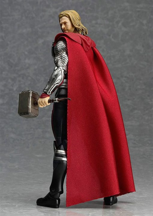 На картинке фигурка бога Тора из Мстителей (Фигма Реплика), вид сзади.