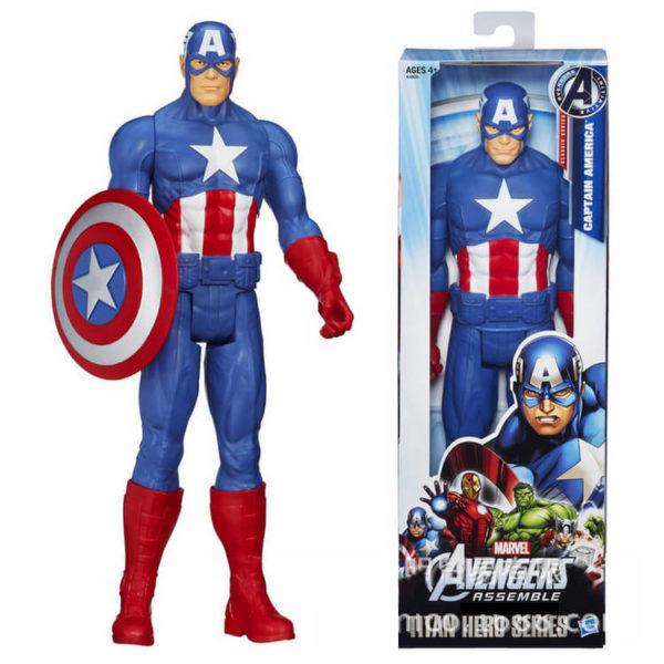 На картинке фигурка Капитан Америка Мстители (Марвел \ Marvel), вид спереди.