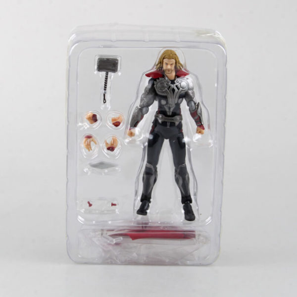 На картинке фигурка бога Тора из Мстителей (Фигма Реплика), вид в упаковке.