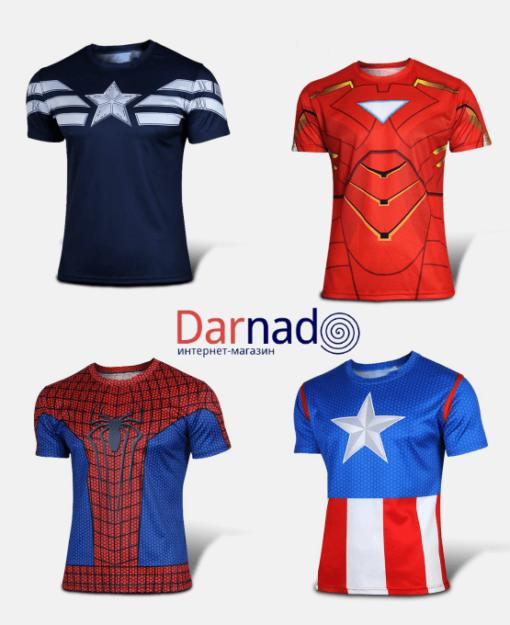 На картинке футболка «Мстители» (Марвел \ Marvel), вид спереди, 4 варианта.